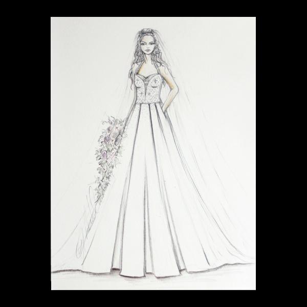 Bridal wedding illustration front