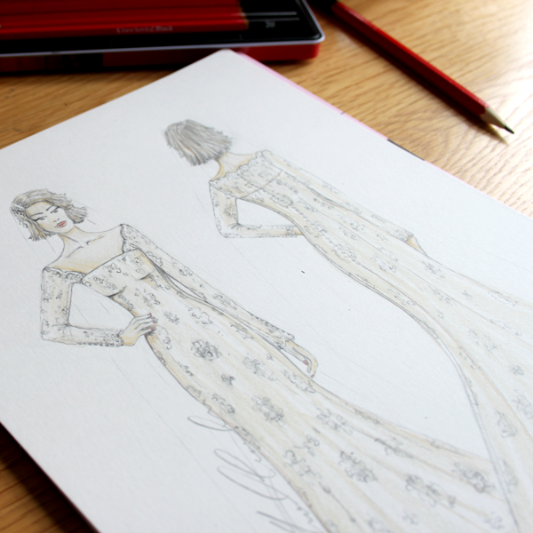 Fashion illustration front and back inc mount