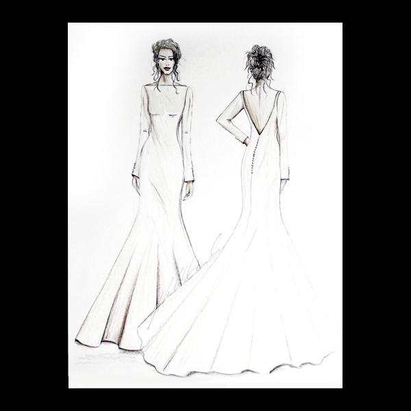 Bridal wedding illustration front and back