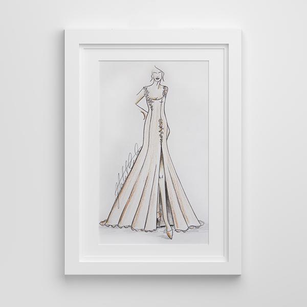 Bridal wedding line illustration framed