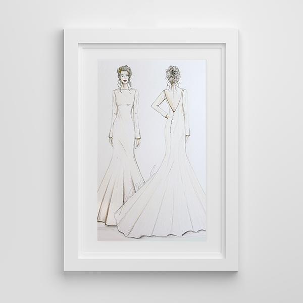 Bridal wedding illustration framed