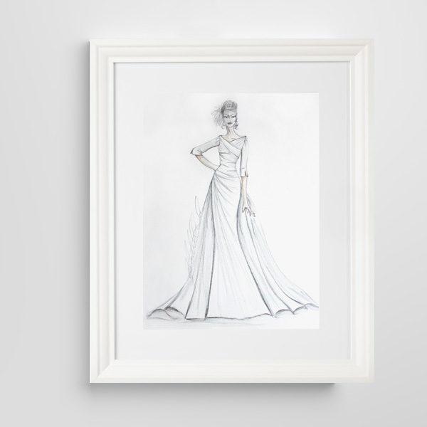 Bridal wedding illustration front framed