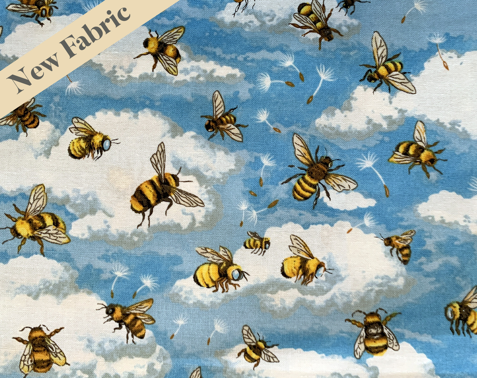 Bees on Cloudy Sky Vintage Face Covering