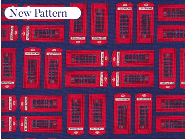 Telephone Box face mask. Featuring illustrations of classic English red telephone boxes on a deep navy blue background.