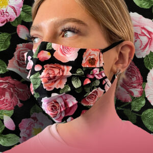 Pink Roses with Foliage on Black Face Mask