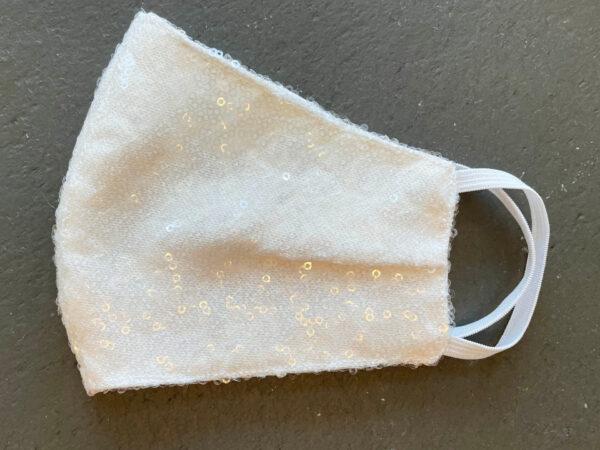Ivory Sequin Bridal Face Mask