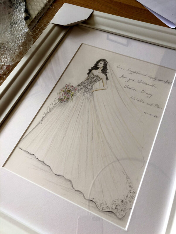 Bridal wedding illustration with inscription